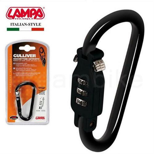 Black Karabiner Style Combination Lock, Ideal for Skiing,Kit Bag, Board Bag Lock