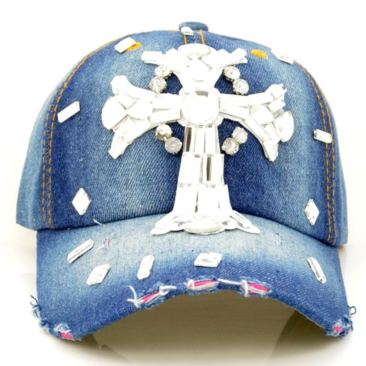 Blue Jean Cap with Rhinestone Cross - Shield of Faith Gifts 5c6982242a6
