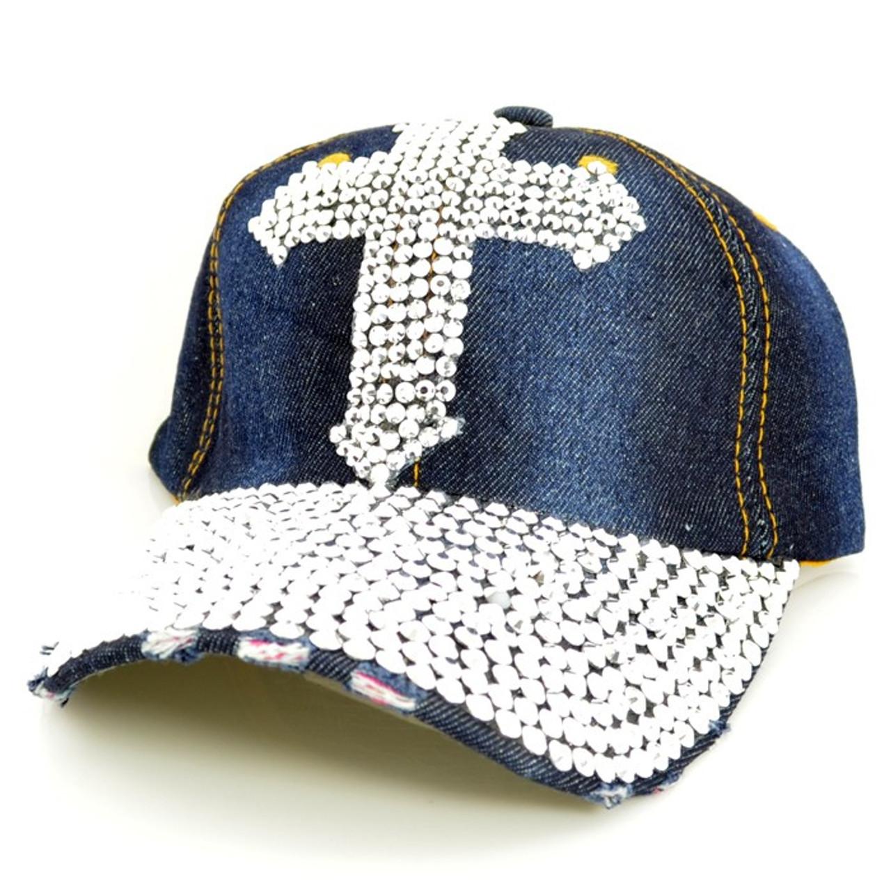 Navy Blue Jean cap with Rhinestone Cross - Shield of Faith Gifts 443d3987e18