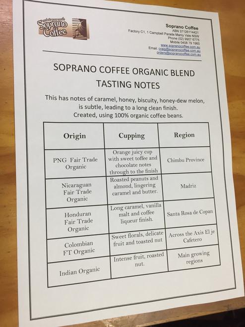 Organic coffee bean blend  tasting sheet