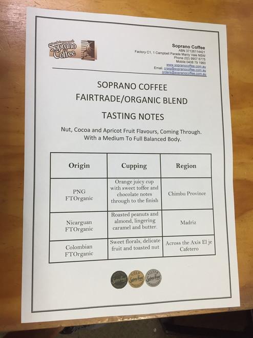 fairtrade organic coffee bean tasting sheet
