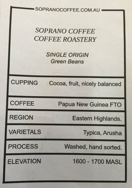 Tasting notes of unroasted Papua New Guinea coffee beans