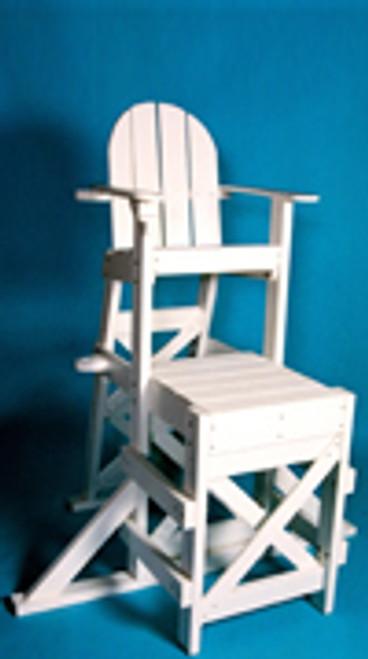 "Medium Lifeguard Chair (side step) MLG 520  48""L x 59""W x 70""H Seat Height 50"" Platform Height 33"" Weight 155 lbs."