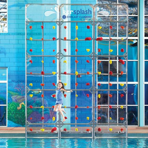 Crystal Clear Climbing Pool Wall 12' x 4' with Removable Bottom Panel Kersplash, $10,819.00