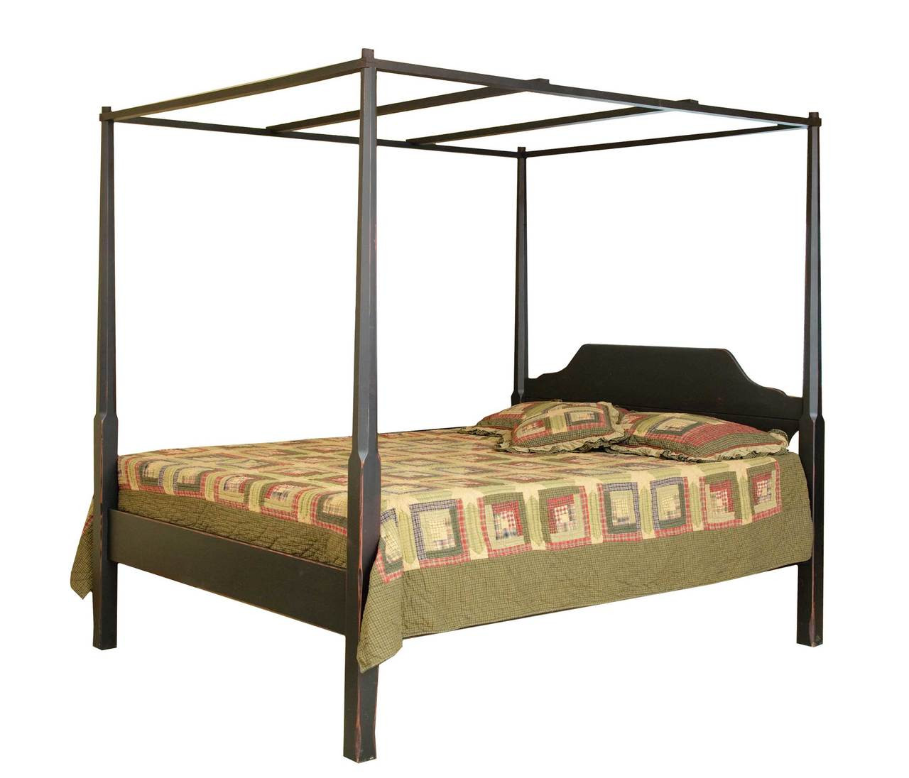 - Amish Handcrafted - Pencil Post Queen Bed With Canopy - Vintage