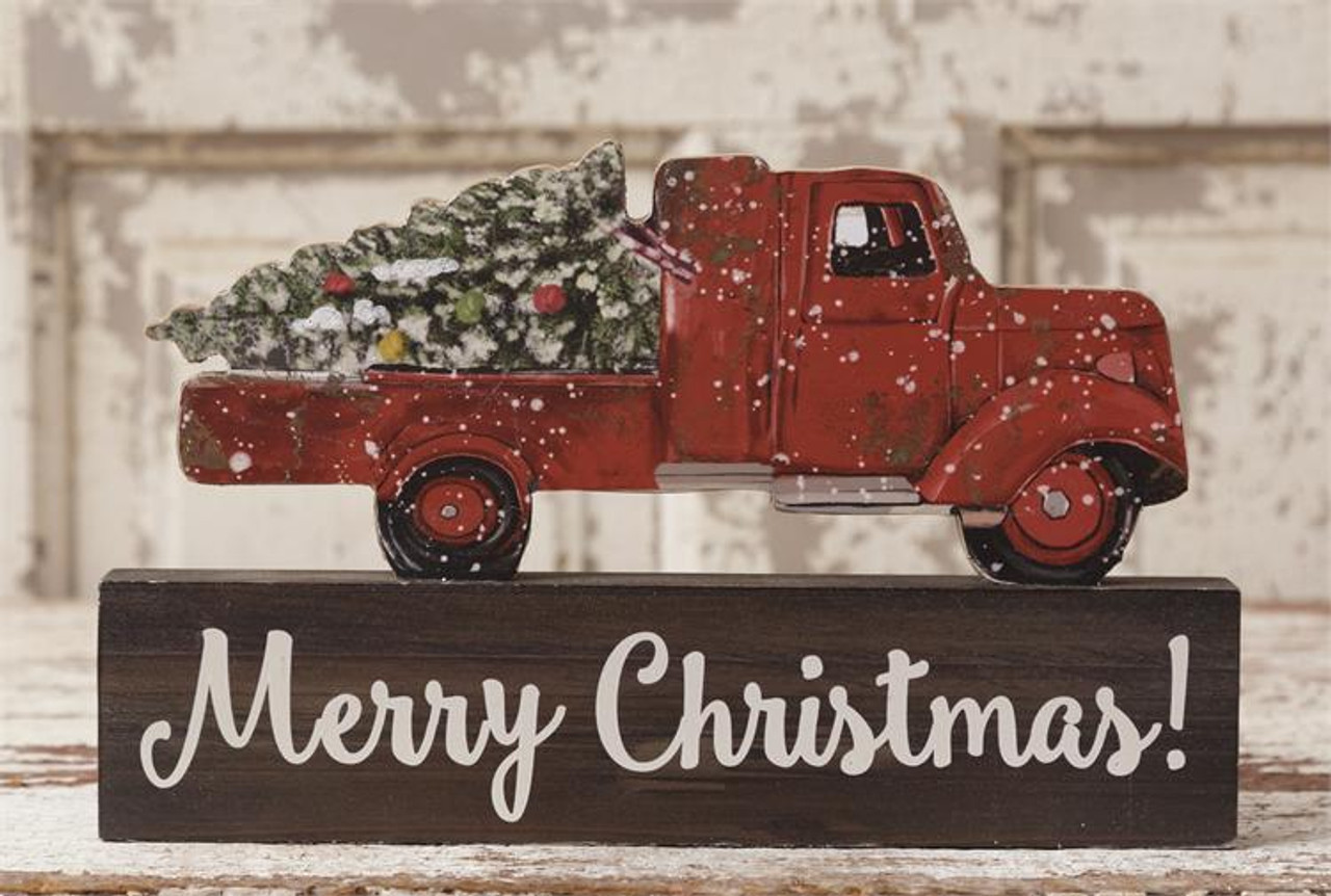 Old Truck With Christmas Tree.Block Old Truck With Christmas Tree And Merry Christmas