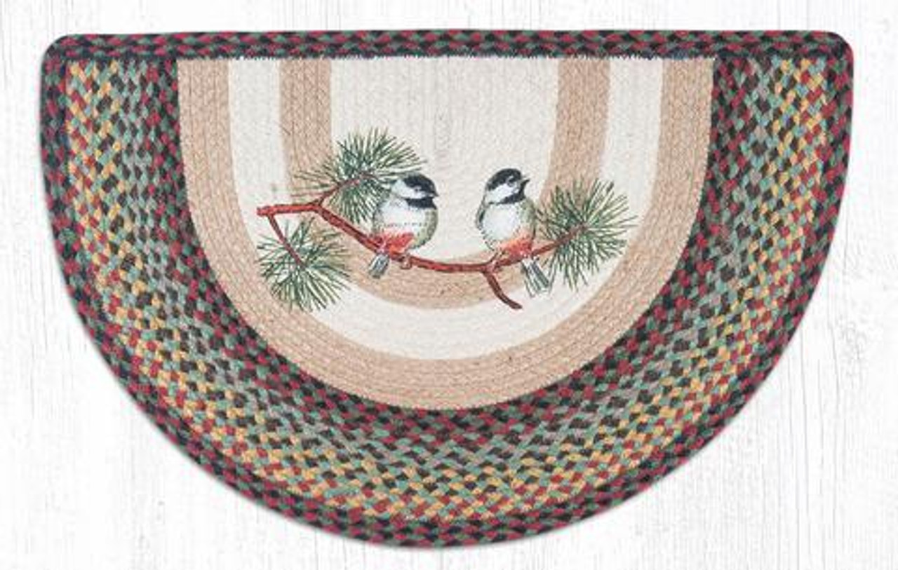 """COUNTRY PRINTED SLICE BRAIDED JUTE AREA RUG 18/""""X29/"""" By EARTH RUGS--PINECONE"""