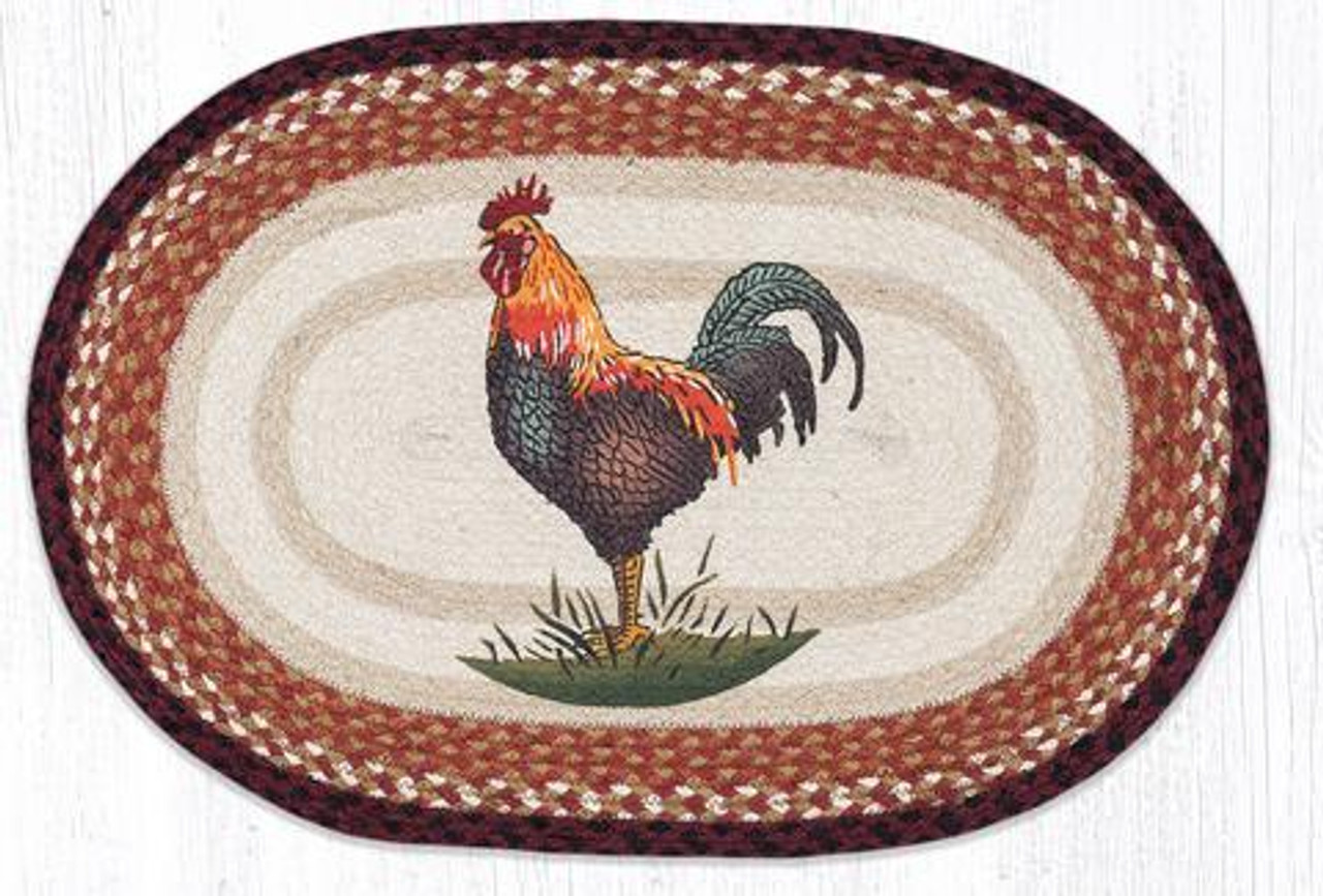 Oval Patch Rug Op 471 Rustic Rooster Earth Rugs