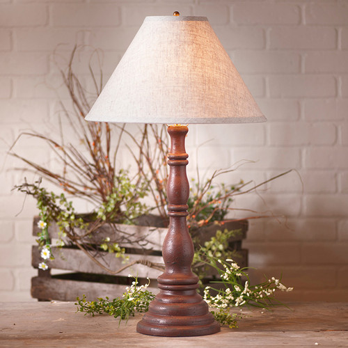 """Irvin's Davenport Lamp In Americana Plantation Red, Shown With Optional 15"""" Linen Shade"""