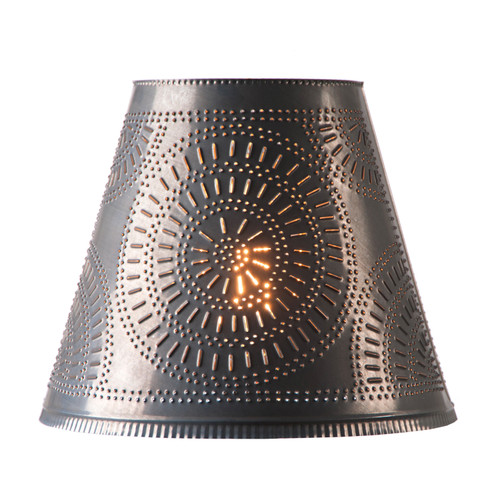 Irvin's Fireside Shade 14 Inch - Chisel Design Finished In Kettle Black