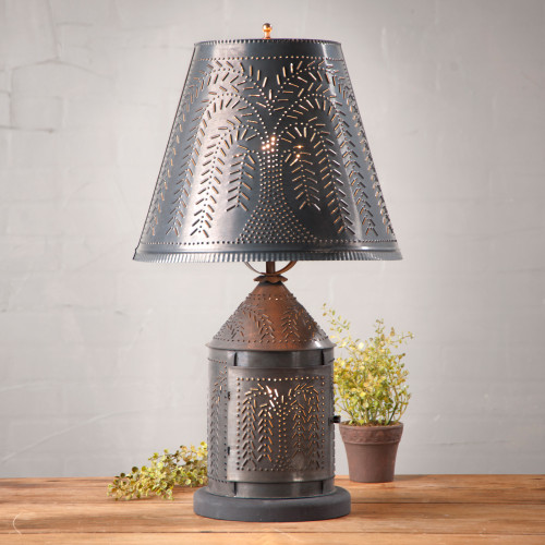 """Fireside Lamp With Willow Design Finished In Kettle Black, Shown With Optional 14"""" Fireside Willow Design Shade Finished In Kettle Black."""