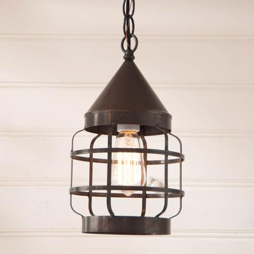 Irvins Round Hanging Strap Light Finished In Kettle Black
