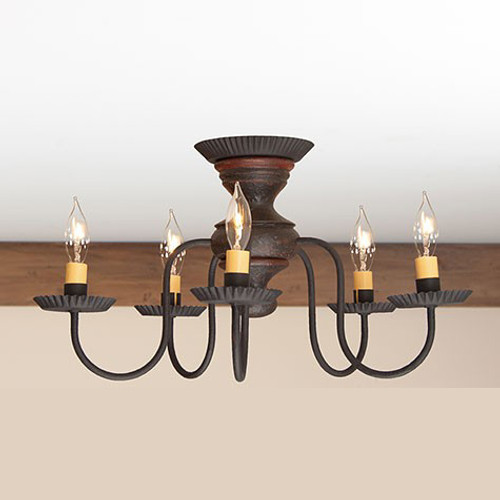 Irvin's Thorndale Ceiling Light In Americana Espresso With Red