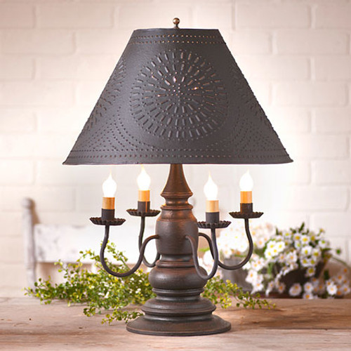 "Irvin's Harrison Lamp Finished In Americana Black, Shown With Optional 17"" Chisel Design Shade Finished Textured In Black"
