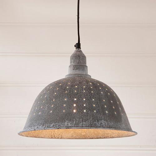Irvin's Tinware Colander Pendant Light In Weathered Zinc