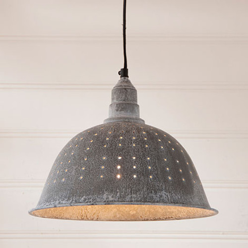 Irvin's Tinware Colander Pendant Light In Weathered Zinc