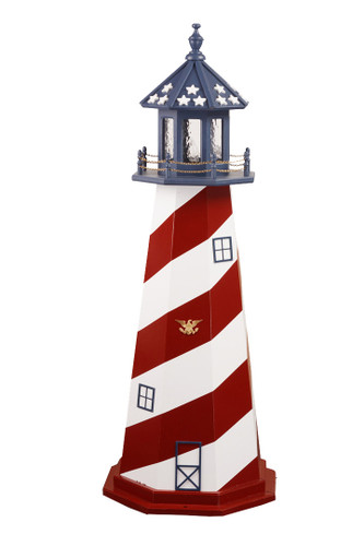 Amish Made Wood Garden Lighthouse - Patriotic - Shown As: Cape Hatteras, 5 Foot, Standard Electric Lighting, Optional Base Primary Color None, Optional Base Trim Color None, No Base/Tower Interior Lighting