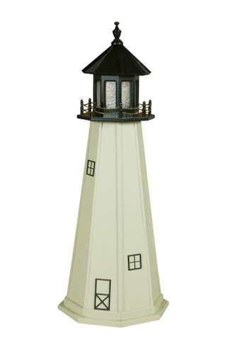 Amish Made Wood Garden Lighthouse - Split Rock - Shown As: 5 Foot, Standard Electric Lighting, Roof/Top Color Black, Tower Color Ivory, Optional Base Primary Color None, Optional Base Trim Color None, No Base/Tower Interior Lighting