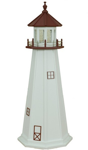 Amish Made Wood Garden Lighthouse - Marble Head - Shown As: 5 Foot, Standard Electric Lighting, Roof & Deck Color Cherrywood, Tower Color White, Optional Base Primary Color None, Optional Base Trim Color None, No Base/Tower Interior Lighting