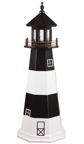 Amish Made Wooden Garden Lighthouse - Fire Island - Shown As: 5 Foot, Standard Electrical Lighting, Roof & Tower Primary Color Black, Tower Accent/Trim Color White. Optional Base Primary Color None, Optional Base Trim Color None, No Base/Tower Interior Lighting