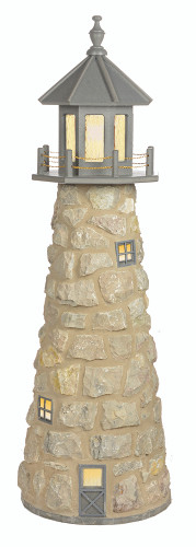 5 Foot Amish Made Stone Garden Lighthouse With Poly Top in Light Gray