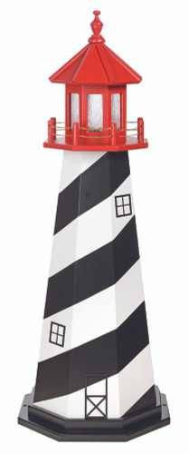 Amish Made Wood Garden Lighthouse - St Augustine - Shown As: 5 Foot, Standard Electric Lighting, Roof/Top Color Cardinal Red, Tower Primary Color Black, Tower Accent/Trim Color White, Optional Base Primary Color None, Optional Base Trim Color None, No Base/Tower Interior Lighting