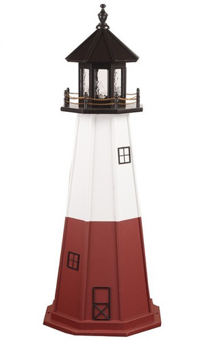 Amish Made Wood Garden Lighthouse - Vermillion - Shown As: 5 Foot, Standard Electric Lighting, Roof/Top Color Black, Upper Tower Color White, Lower Tower Color Cherrywood, Optional Base Primary Color None, Optional Base Trim Color None, No Base/Tower Interior Lighting