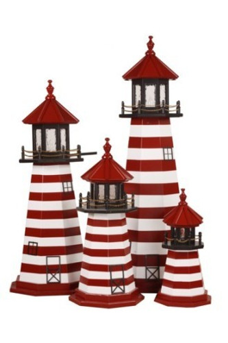 Amish Made Wood Garden Lighthouse – West Quoddy - Shown As: 2-5 Foot, Standard Electric Lighting, Deck & Top Color: Black, Roof & Tower Primary Stripes Color: Cardinal Red, Tower Accent Stripes Color: White, Optional Base Primary Color None, Optional Base Trim Color None, No Base/Tower Interior Lighting