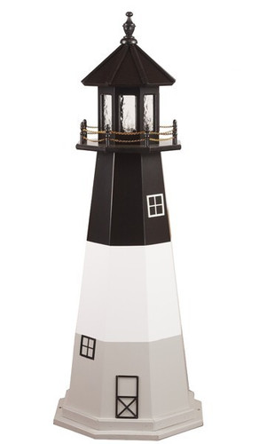 Amish Made Wood Garden Lighthouse – Oak Island - Shown As: 5 Foot, Standard Electric Lighting, Roof/Top Color: Black, Tower Upper Stripe Color: Black, Tower Middle Stripe Color: White, Tower Lower Stripe Color: Light Grey, Optional Base Primary Color None, Optional Base Trim Color None, No Base/Tower Interior Lighting