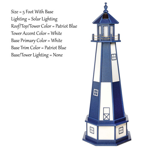 Amish Made Poly Outdoor Lighthouse Cape Henry Model