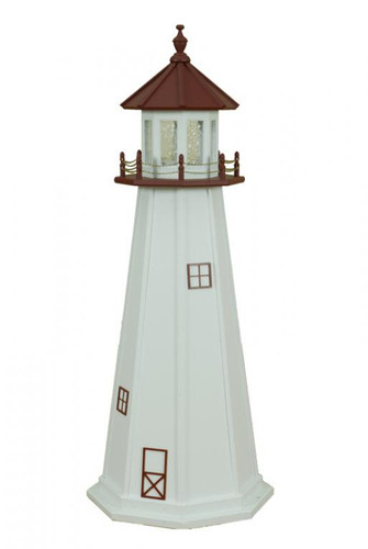 Amish Made Poly Outdoor Lighthouse - Marblehead - Shown As: 5 Foot, Standard Electric Lighting, Roof & Deck Color: Cherrywood, Tower Color: White, Optional Base Primary Color None, Optional Base Trim Color None, No Base/Tower Interior Lighting