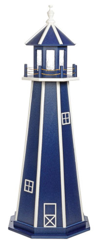 Amish Made Poly Garden Lighthouse - Standard - Shown As: 5 Foot, Standard Electrical Lighting, Roof & Tower Primary Color: Patriot Blue, Tower Accent/Trim Color White. Optional Base Primary Color None, Optional Base Trim Color None, No Base/Tower Interior Lighting
