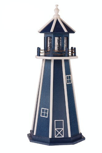 Amish Made Poly Garden Lighthouse - Standard - Shown As: 4 Foot, Standard Electrical Lighting, Roof & Tower Primary Color: Patriot Blue, Tower Accent/Trim Color White. Optional Base Primary Color None, Optional Base Trim Color None, No Base/Tower Interior Lighting