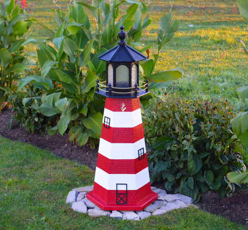 Amish Made Wood Garden Lighthouse - Assateague - Shown In 4 Foot Model With Standard Electric Lighting