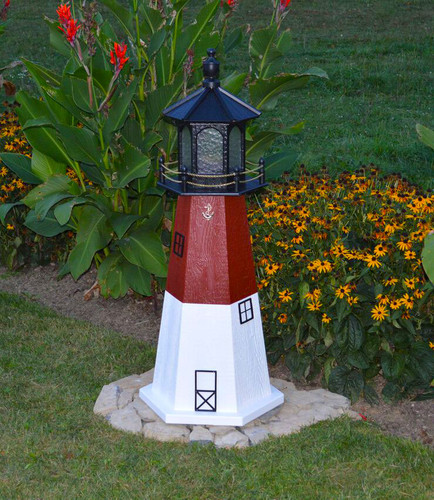 Amish Made Wood Garden Lighthouse - Barnegat - Shown In 4 Foot Model With Standard Electric Lighting