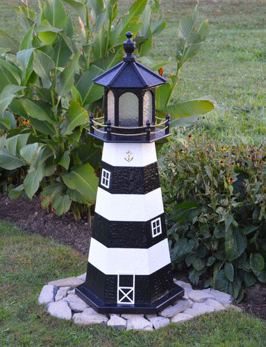 Amish Made Wood Garden Lighthouse - Cape Canaveral - Shown In 4 Foot Model With Standard Electric Lighting