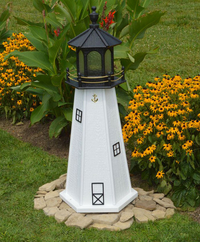 Amish Made Wood Garden Lighthouse - Cape Cod - Shown In 4 Foot Model With Standard Electric Lighting