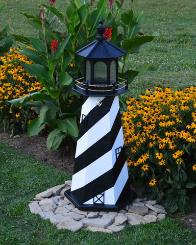 Amish Made Wood Garden Lighthouse - Cape Hatteras - Shown In 4 Foot Model With Standard Electric Lighting