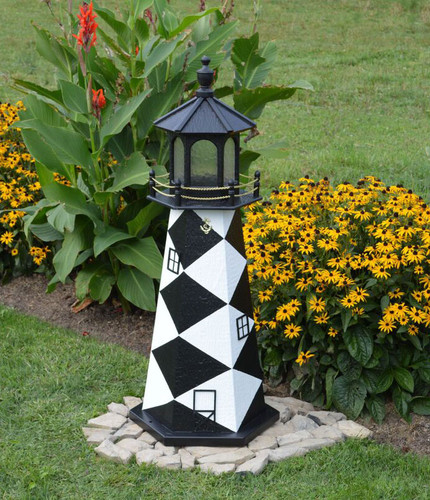 Amish Made Wood Garden Lighthouse - Cape Lookout - Shown In 4 Foot Model With Standard Electric Lighting