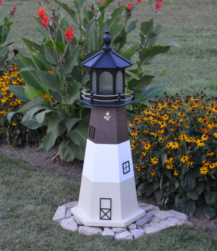 Amish Made Wood Garden Lighthouse - Oak Island - Shown In 4 Foot Model With Standard Electric Lighting