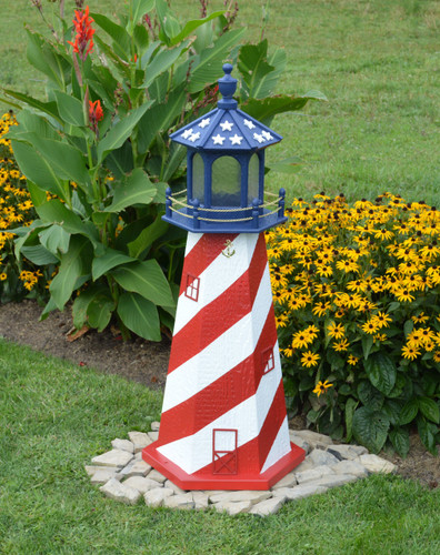 Amish Made Wood Garden Lighthouse - Patriotic - Shown In 4 Foot Model With Standard Electric Lighting