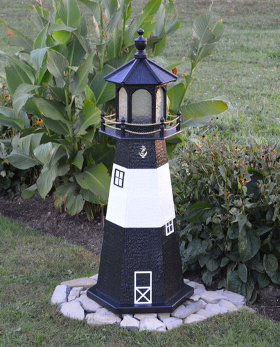 Amish Made Wood Garden Lighthouse - Tybee Island - Shown In 4 Foot Model With Standard Electric Lighting
