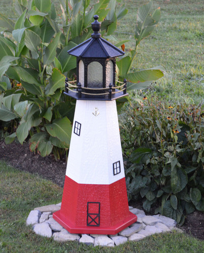 Amish Made Wood Garden Lighthouse - Vermillion - Shown In 4 Foot Model With Standard Electric Lighting