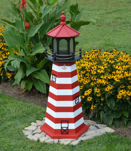 Amish Made Wood Garden Lighthouse - West Quoddy - Shown In 4 Foot Model With Standard Electric Lighting