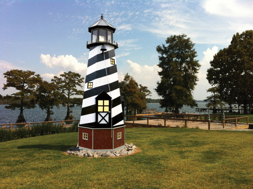 Amish Made 17 Foot Poly/Wood Hybrid Lighthouse -  Shown As: Cape Hatteras Style, X-Large Electric Revolving Light, Roof/Top Color: Black, Tower Primary Color: Black, Tower Accent/Trim Color: White. Base Primary Color: Cherrywood, Optional Base Trim Color: Weatherwood.