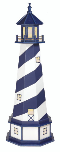 Amish Made Wood-Poly Hybrid Lighthouse - Cape Hatteras - Shown As: 5 Foot, Standard Electric Lighting, Poly Roof/Top Color: Patriot Blue, Wood Tower Primary Color: Patriot Blue, Wood Tower Accent Color: White, Poly Base Primary Color: White, Poly Base Trim Color: Patriot Blue, Electric Base/Tower Interior Lighting