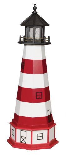 Amish Made Wood-Poly Hybrid Lighthouse - Assateague - Shown As: 5 Foot, Standard Electric Lighting, Poly Roof/Top Color: Black, Wood Tower Primary Color: Cardinal Red, Wood Tower Accent Color: White, Poly Base Primary Color: White, Poly Base Trim Color: Cardinal Red, No Base/Tower Interior Lighting