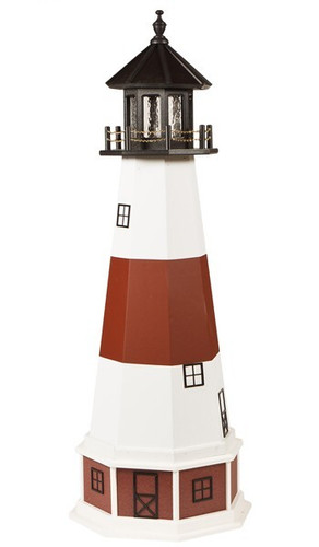 Amish Made Wood-Poly Hybrid Lighthouse - Montauk - Shown As: 5 Foot, Standard Electric Lighting, Poly Roof/Top Color: Black, Wood Tower Primary Color: White, Wood Tower Accent Color: Cherrywood, Poly Base Primary Color: Cherrywood, Poly Base Trim Color: White, No Base/Tower Interior Lighting