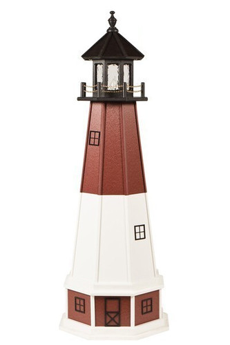 Amish Made Wood-Poly Hybrid Lighthouse - Barnegat - Shown As: 5 Foot, Standard Electric Lighting, Poly Roof/Top Color: Black, Wood Tower Primary Color: White, Wood Tower Accent Color: Cherrywood, Poly Base Primary Color: Cherrywood, Poly Base Trim Color: White, No Base/Tower Interior Lighting