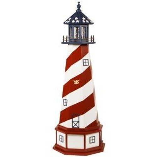Amish Made Wood-Poly Hybrid Lighthouse - Patriotic Cape Hatteras Style - Shown As: 5 Foot, Standard Electric Lighting, Poly Base Priamry Color: White, Poly Base Trim Color: Cardinal Red, No Base/Tower Interior Lighting